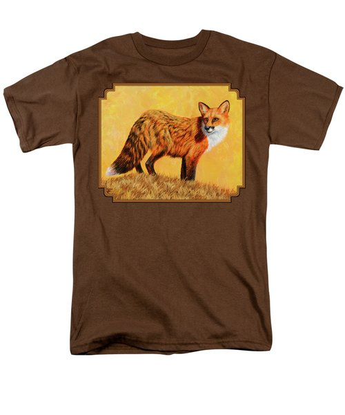 Red Fox Painting - Looking Back Men's T-Shirt  (Regular Fit) by Crista Forest