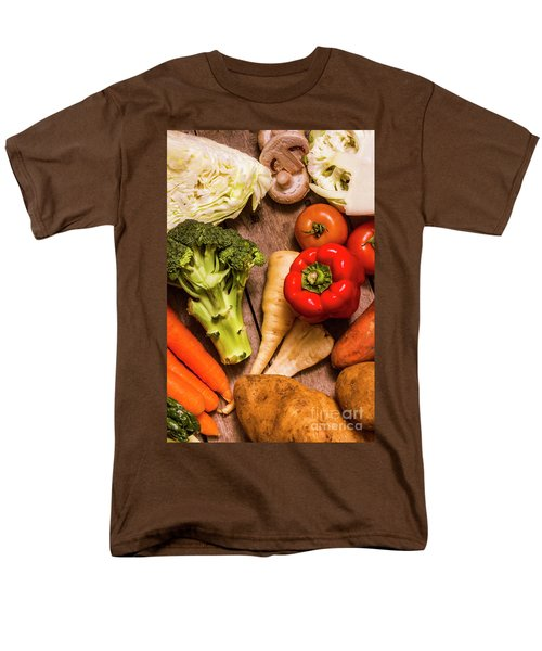 Selection Of Fresh Vegetables On A Rustic Table Men's T-Shirt  (Regular Fit) by Jorgo Photography - Wall Art Gallery