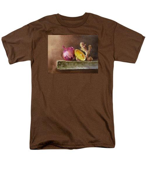 Still Life With Onion Lemon And Ginger Men's T-Shirt  (Regular Fit) by Irina Sztukowski