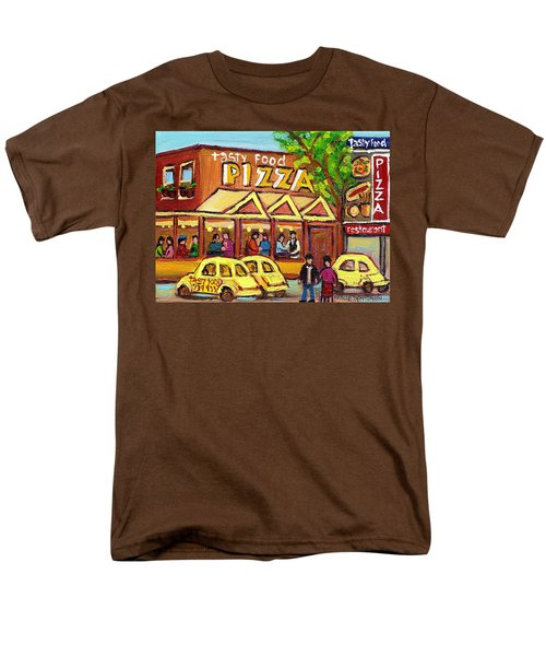 TASTY FOOD PIZZA ON DECARIE BLVD T-Shirt by CAROLE SPANDAU