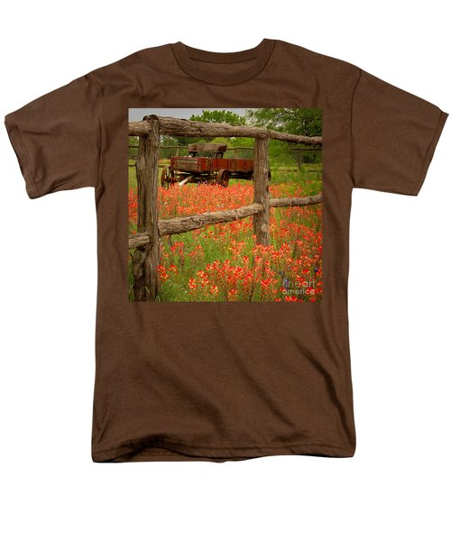 Wagon in Paintbrush - Texas Wildflowers wagon fence landscape flowers T-Shirt by Jon Holiday