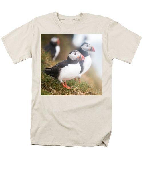 Atlantic Puffins Fratercula Arctica Men's T-Shirt  (Regular Fit) by Panoramic Images