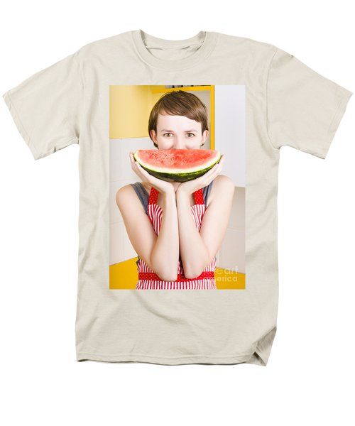 Funny Woman With Juicy Fruit Smile Men's T-Shirt  (Regular Fit) by Jorgo Photography - Wall Art Gallery