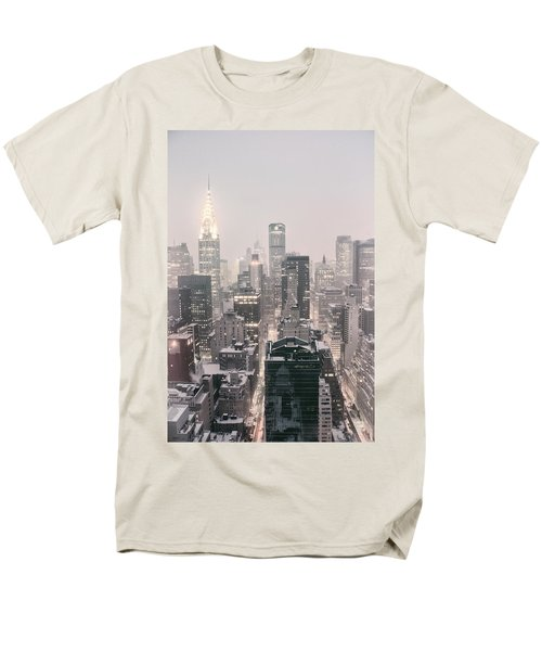 New York City - Snow Covered Skyline Men's T-Shirt  (Regular Fit) by Vivienne Gucwa