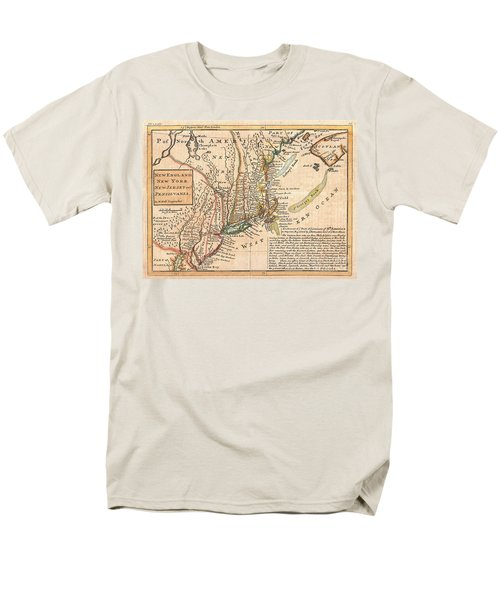 1729 Moll Map of New York New England and Pennsylvania  T-Shirt by Paul Fearn