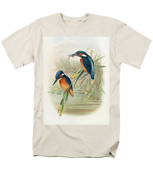 Alcedo Ispida Plate From The Birds Of Great Britain By John Gould Men's T-Shirt  (Regular Fit) by John Gould William Hart