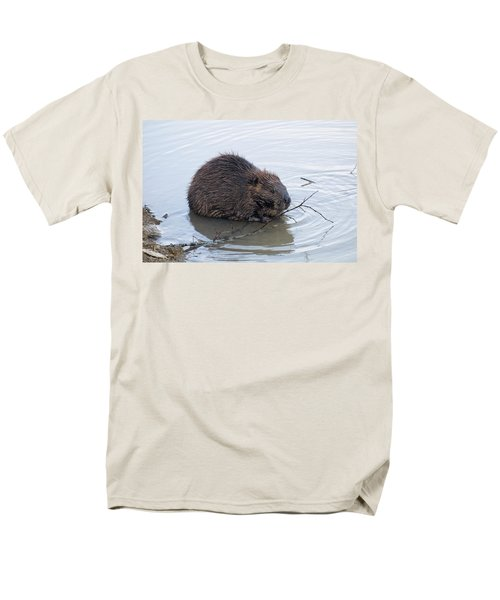 Beaver Chewing On Twig Men's T-Shirt  (Regular Fit) by Chris Flees