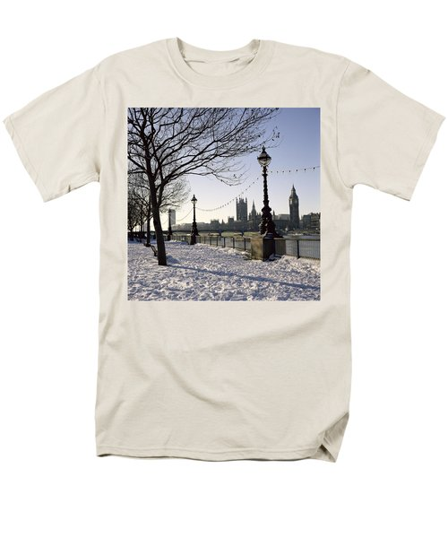 Big Ben Westminster Abbey And Houses Of Parliament In The Snow Men's T-Shirt  (Regular Fit) by Robert Hallmann