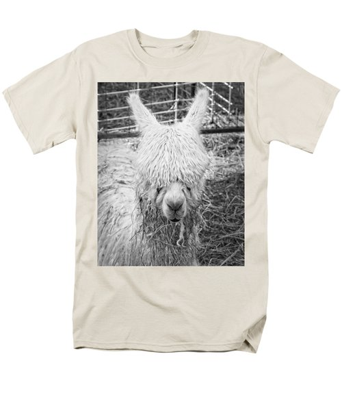 Black And White Alpaca Photograph Men's T-Shirt  (Regular Fit) by Keith Webber Jr