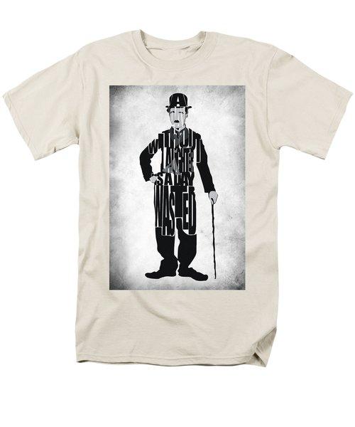 Charlie Chaplin Typography Poster T-Shirt by Ayse Deniz