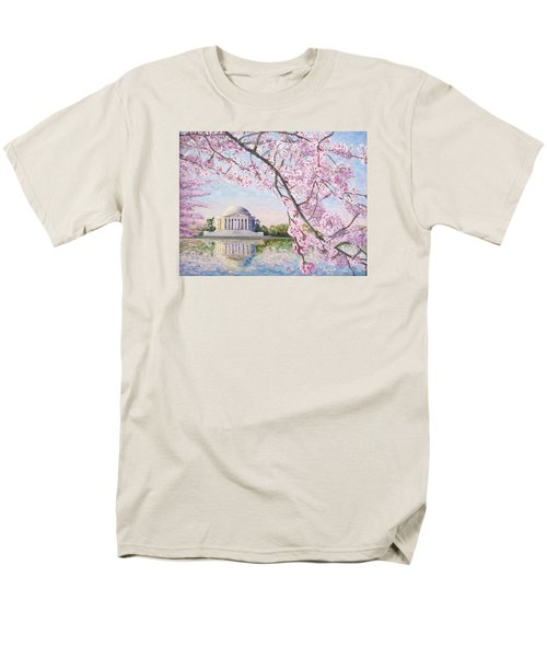 Jefferson Memorial Cherry Blossoms Men's T-Shirt  (Regular Fit) by Patty Kay Hall