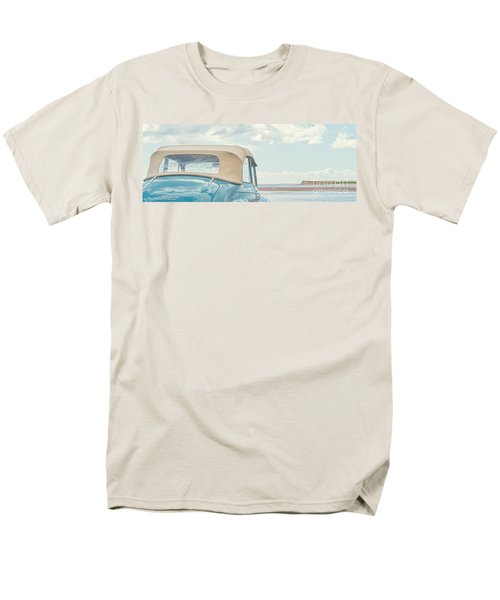 Classic Vintage Morris Minor 1000 Convertible at the beach T-Shirt by Edward Fielding