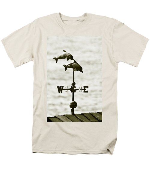 Dolphins Weathervane In Sepia T-Shirt by Ben and Raisa Gertsberg