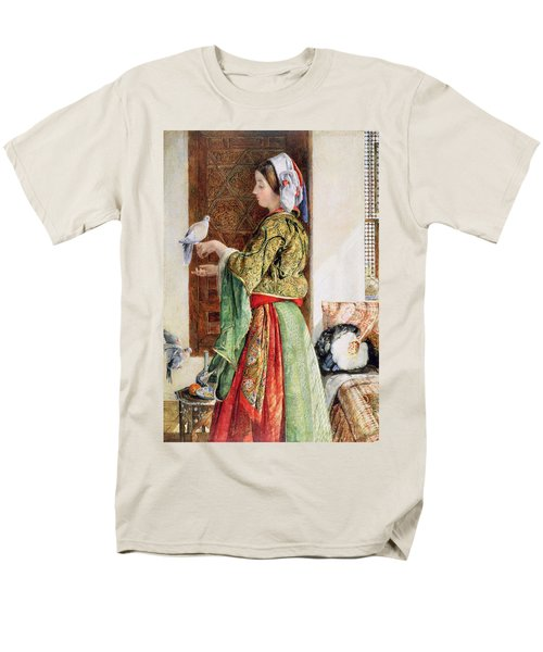Girl With Two Caged Doves, Cairo, 1864 Men's T-Shirt  (Regular Fit) by John Frederick Lewis