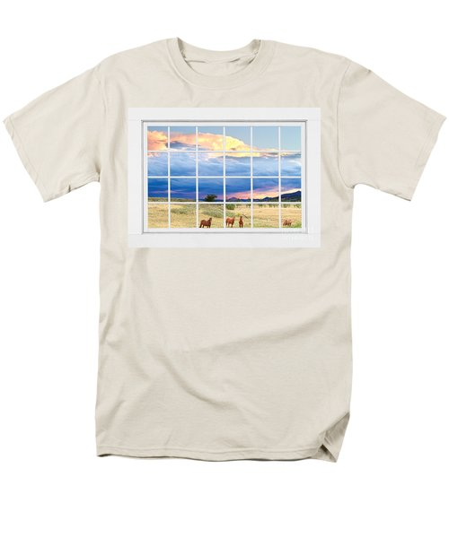 Horses On The Storm Large White Picture Window Frame View T-Shirt by James BO  Insogna