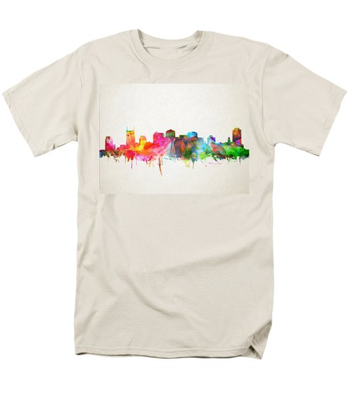 Nashville Skyline Watercolor 9 Men's T-Shirt  (Regular Fit) by Bekim Art