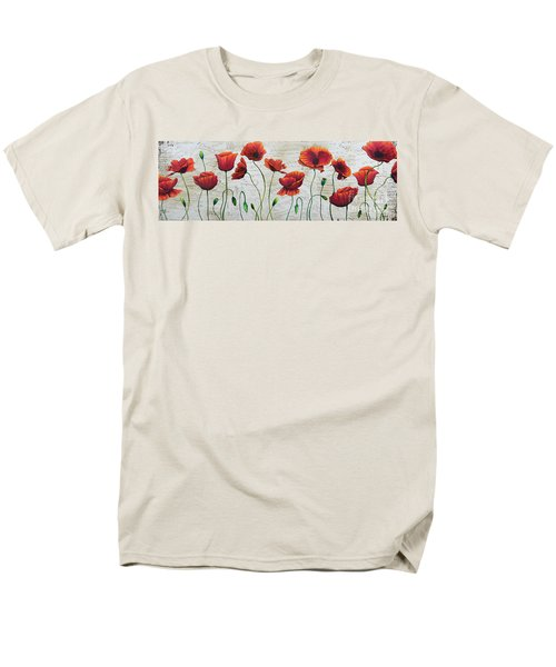 Orange Poppies Original Abstract Flower Painting by Megan Duncanson T-Shirt by Megan Duncanson