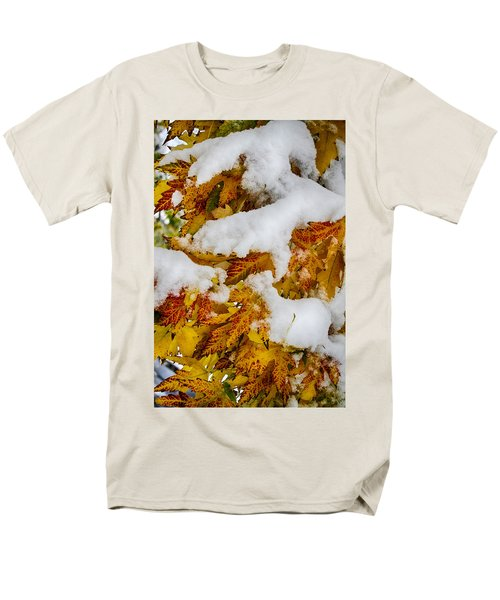 Red Autumn Maple Leaves With Fresh Fallen Snow T-Shirt by James BO  Insogna