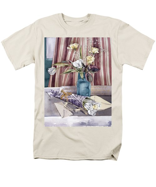 Roses Tulips And Striped Curtains T-Shirt by Julia Rowntree
