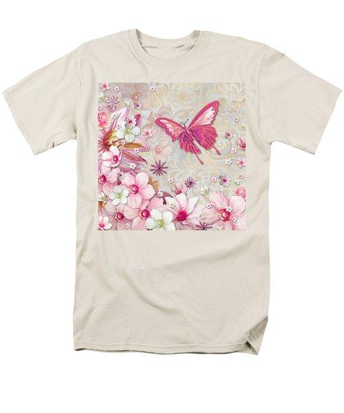 Sophisticated Elegant Whimsical Pink Butterfly Floral Flower Art Springs Joy by Megan Duncanson T-Shirt by Megan Duncanson