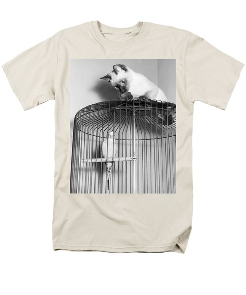 The Parakeet And The Cat Men's T-Shirt  (Regular Fit) by Underwood Archives