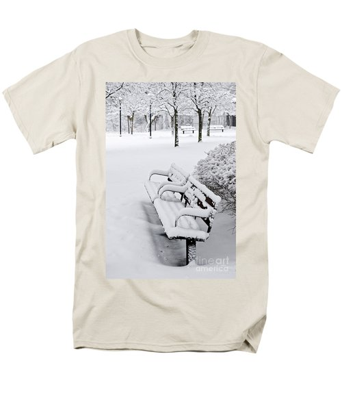 Winter park with benches T-Shirt by Elena Elisseeva