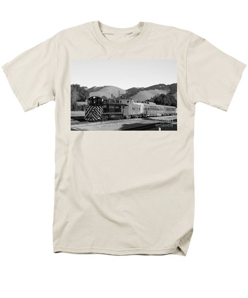 Historic Niles Trains in California . Southern Pacific Locomotive and Sante Fe Caboose.7D10819.bw T-Shirt by Wingsdomain Art and Photography