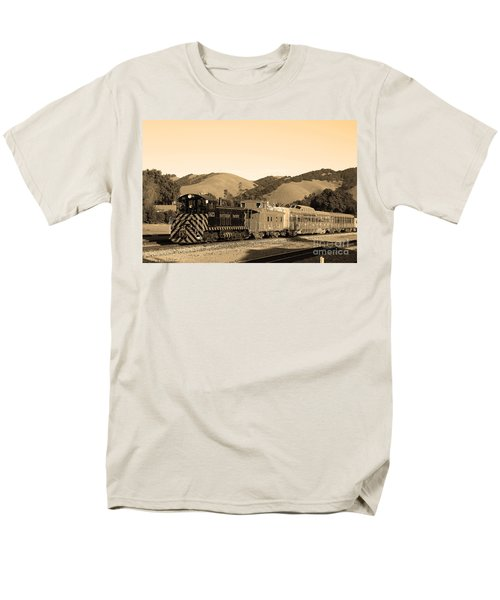Historic Niles Trains in California.Southern Pacific Locomotive and Sante Fe Caboose.7D10819.sepia T-Shirt by Wingsdomain Art and Photography
