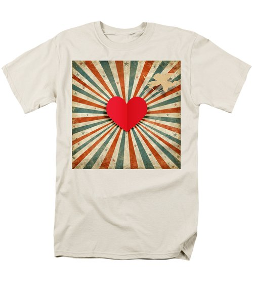 heart and cupid with ray background T-Shirt by Setsiri Silapasuwanchai