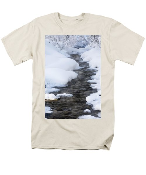 Open Running Creek With Snow Covered T-Shirt by Michael Interisano