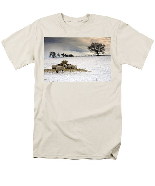 Sheep In Field Of Snow, Northumberland T-Shirt by John Short