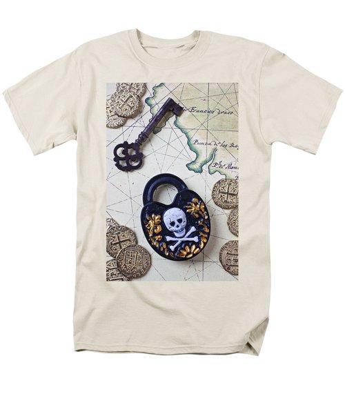 Skull and cross bones lock T-Shirt by Garry Gay