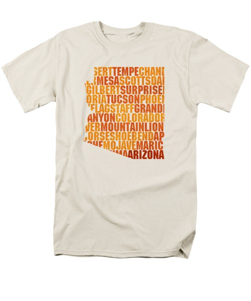 Arizona State Outline Word Map Men's T-Shirt  (Regular Fit) by Design Turnpike