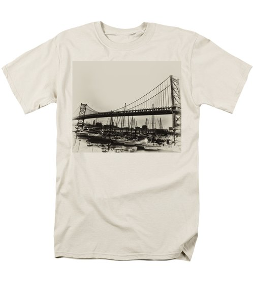 Ben Franklin Bridge from the Marina in Black and White. T-Shirt by Bill Cannon