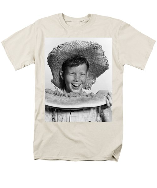 Boy Eating Watermelon, C.1940-50s Men's T-Shirt  (Regular Fit) by H. Armstrong Roberts/ClassicStock