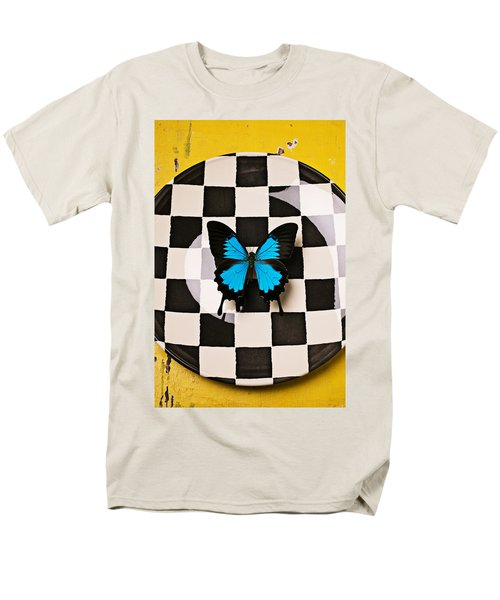 Checker plate and blue butterfly T-Shirt by Garry Gay