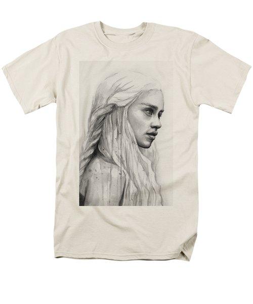 Daenerys Watercolor Portrait Men's T-Shirt  (Regular Fit) by Olga Shvartsur