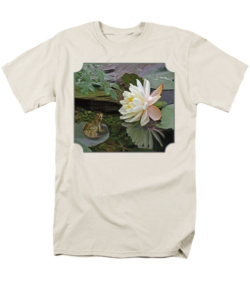 Frog In Awe Of White Water Lily Men's T-Shirt  (Regular Fit) by Gill Billington