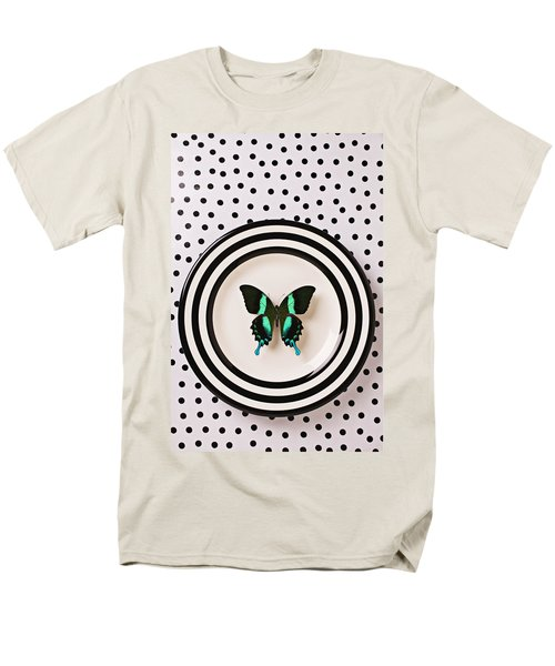 Green and black butterfly on plate T-Shirt by Garry Gay