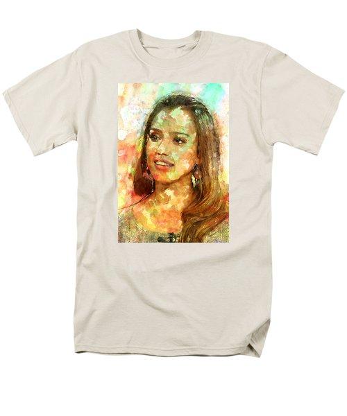 Jessica Alba Men's T-Shirt  (Regular Fit) by Elena Kosvincheva