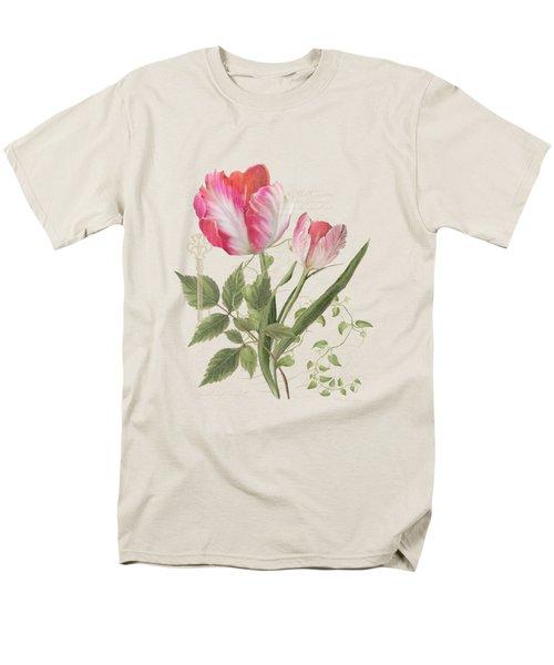 Les Magnifiques Fleurs I - Magnificent Garden Flowers Parrot Tulips N Indigo Bunting Songbird Men's T-Shirt  (Regular Fit) by Audrey Jeanne Roberts