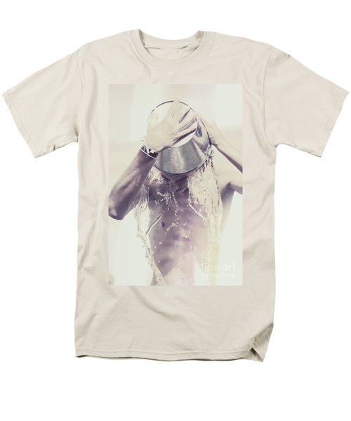 Man pouring cold water from wine cooler over body T-Shirt by Ryan Jorgensen