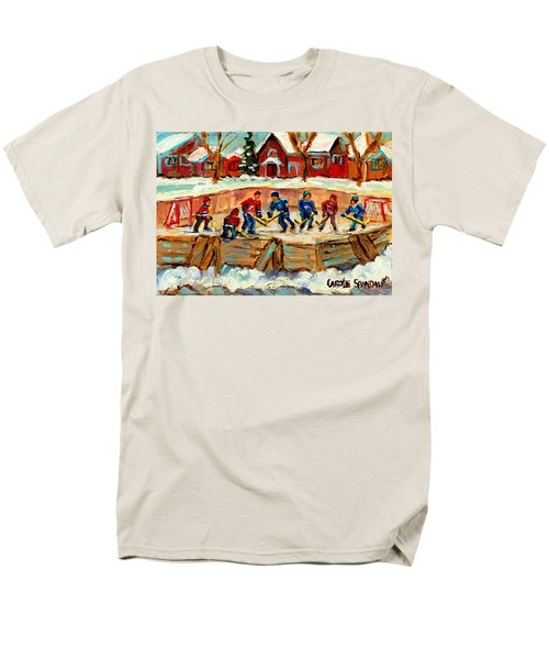 MONTREAL HOCKEY RINKS URBAN SCENE T-Shirt by CAROLE SPANDAU