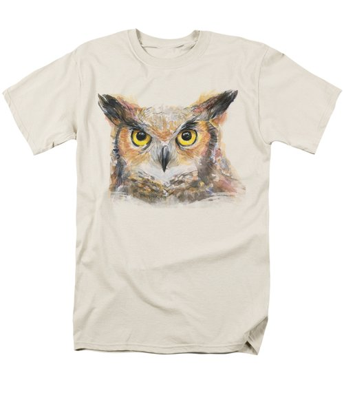 Owl Watercolor Portrait Great Horned Men's T-Shirt  (Regular Fit) by Olga Shvartsur