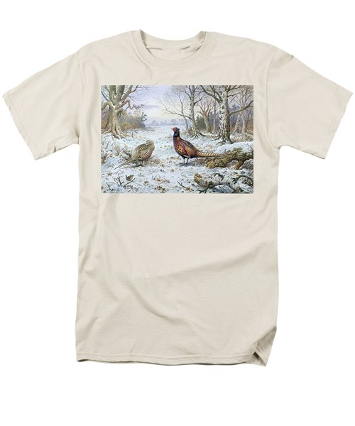 Pair Of Pheasants With A Wren Men's T-Shirt  (Regular Fit) by Carl Donner