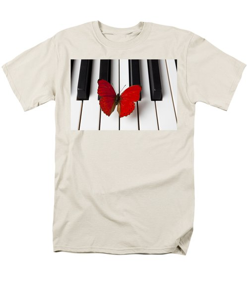 Red Butterfly On Piano Keys T-Shirt by Garry Gay