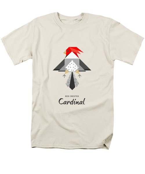 Red-crested Cardinal Minimalist Men's T-Shirt  (Regular Fit) by Bekare Creative