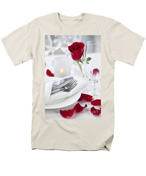 Romantic dinner setting with rose petals T-Shirt by Elena Elisseeva