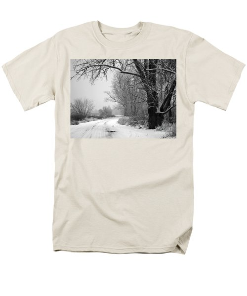 Snowy Branch over Country Road - Black and White T-Shirt by Carol Groenen