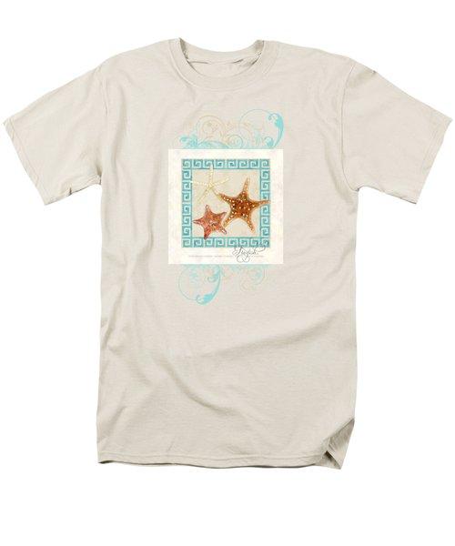 Starfish Greek Key Pattern W Swirls Men's T-Shirt  (Regular Fit) by Audrey Jeanne Roberts